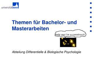 Themen für Bachelor- und Masterarbeiten