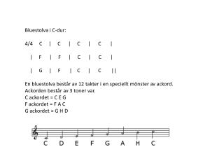 Bluestolva i C-dur: 4/4     C     |     C      |     C      |      C       |