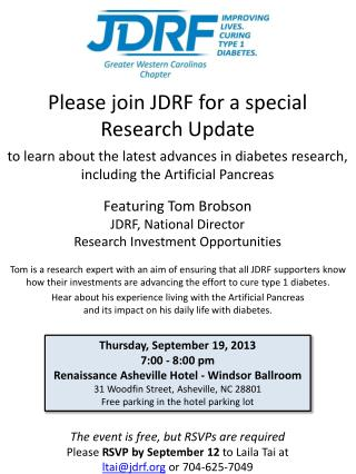 Featuring Tom  Brobson JDRF, National Director Research Investment Opportunities