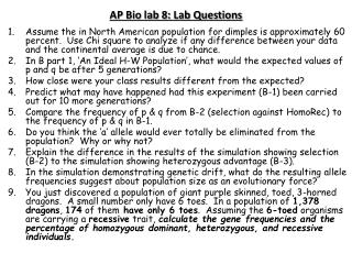 AP Bio lab 8: Lab Questions