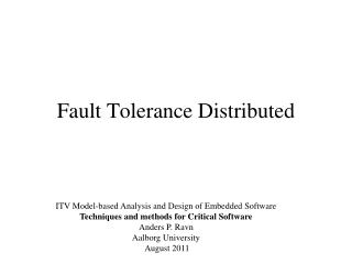 Fault  Tolerance Distributed