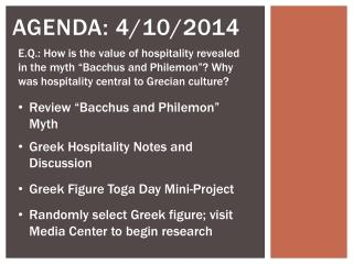 Agenda: 4/10/2014