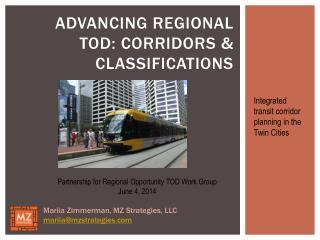 Advancing Regional TOD: Corridors & Classifications