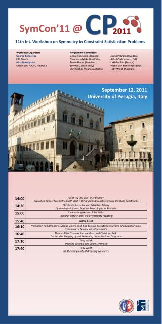 11th  Int. Workshop  on  Symmetry  in Constraint Satisfaction Problems