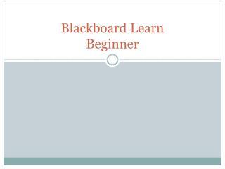 Blackboard Learn Beginner