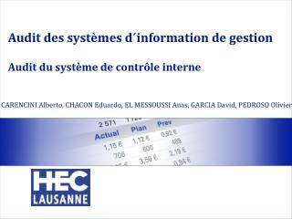 Audit des  systèmes d´information  de  gestion Audit  du système de contrôle interne