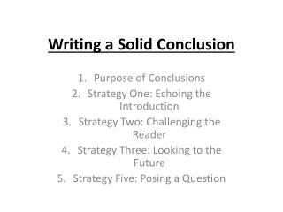 Writing  a Solid Conclusion