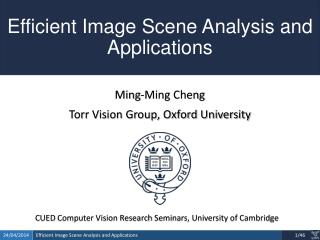 Efficient Image  Scene Analysis and  Applications