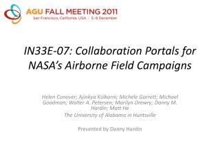 IN33E-07: Collaboration Portals for NASA's Airborne Field Campaigns