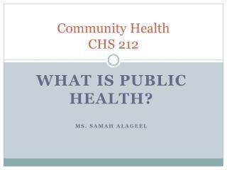 Community Health  CHS 212
