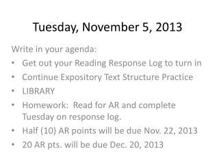 Tuesday,  November  5,  2013