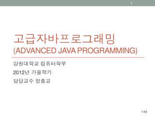 고급자바프로그래밍 (Advanced Java Programming)