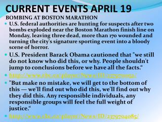 CURRENT EVENTS APRIL 19