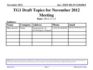 TG1 Draft Topics for November 2012 Meeting