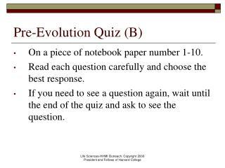 Pre-Evolution Quiz B