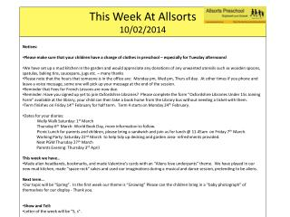 This Week At  Allsorts 10/02/2014