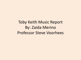 Toby Keith Music Report By:  Zaida  Merino Professor Steve Voorhees