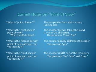 "Cornell Notes on ""Point of View"""