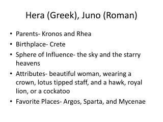 Hera (Greek), Juno (Roman)