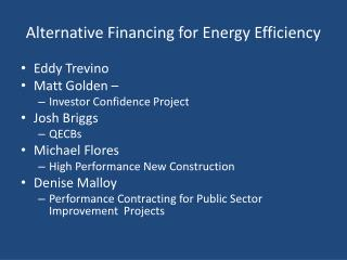 Alternative Financing for Energy Efficiency