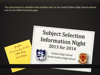 Subject Selection Information  Night 2013 for 2014