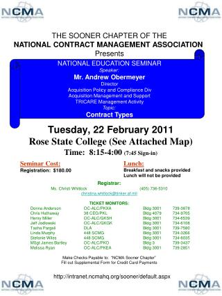 Tuesday, 22 February 2011 Rose State College (See Attached Map) Time:  8:15-4:00  (7:45 Sign-in)