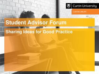 Student Advisor Forum