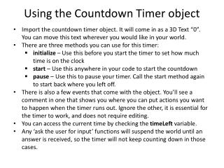 Using the Countdown Timer object