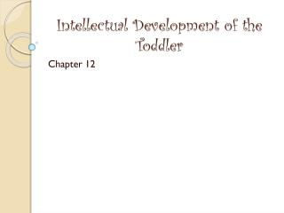 Intellectual Development of the Toddler