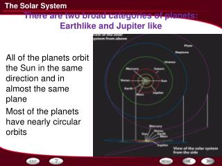 There are two broad categories of planets: Earthlike and  Jupiter like