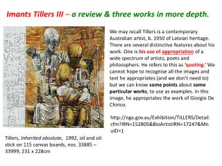 Imants Tillers III  –  a review & three works in more depth.