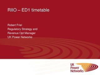 RIIO � ED1 timetable