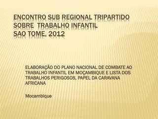 Encontro  Sub Regional  Tripartido sobre Trabalho Infantil Sao Tome, 2012