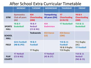 After School Extra Curricular Timetable