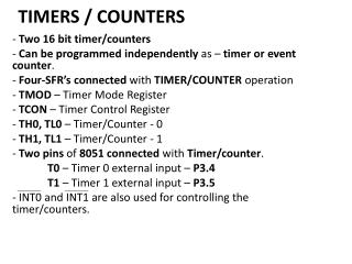 TIMERS / COUNTERS