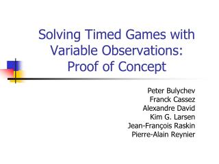 Solving Timed Games with Variable Observations:  Proof of Concept