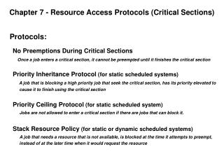 Chapter 7 - Resource Access Protocols Critical Sections