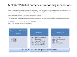 MCESA TFS ticket nomenclature for bug submissions