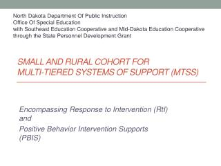 SMALL AND RURAL COHORT FOR  MULTI-TIERED SYSTEMS OF SUPPORT (MTSS)
