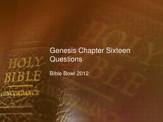 Genesis Chapter Sixteen Questions