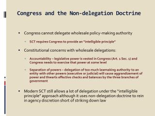 Congress and the Non-delegation Doctrine