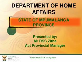 STATE OF MPUMALANGA PROVINCE
