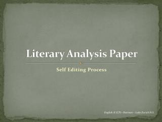 Literary Analysis Paper