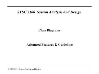 SYSC 3100  System Analysis and Design