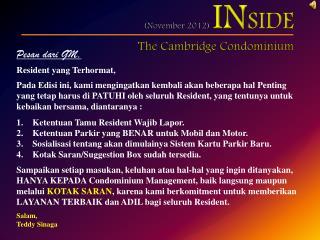 (November  2012)  IN SIDE The Cambridge Condominium