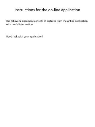 Instructions for the on-line application