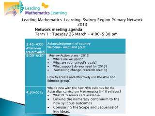 Network meeting agenda Term  1 :  Tuesday 26 March – 4:00-5:30 pm