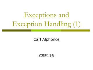 Exceptions and Exception  Handling (1)