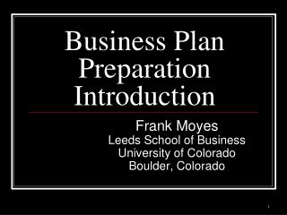 Business Plan Preparation Introduction