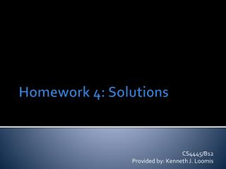 Homework 4: Solutions